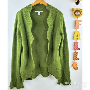 CAbi bell sleeve open front cardigan green M